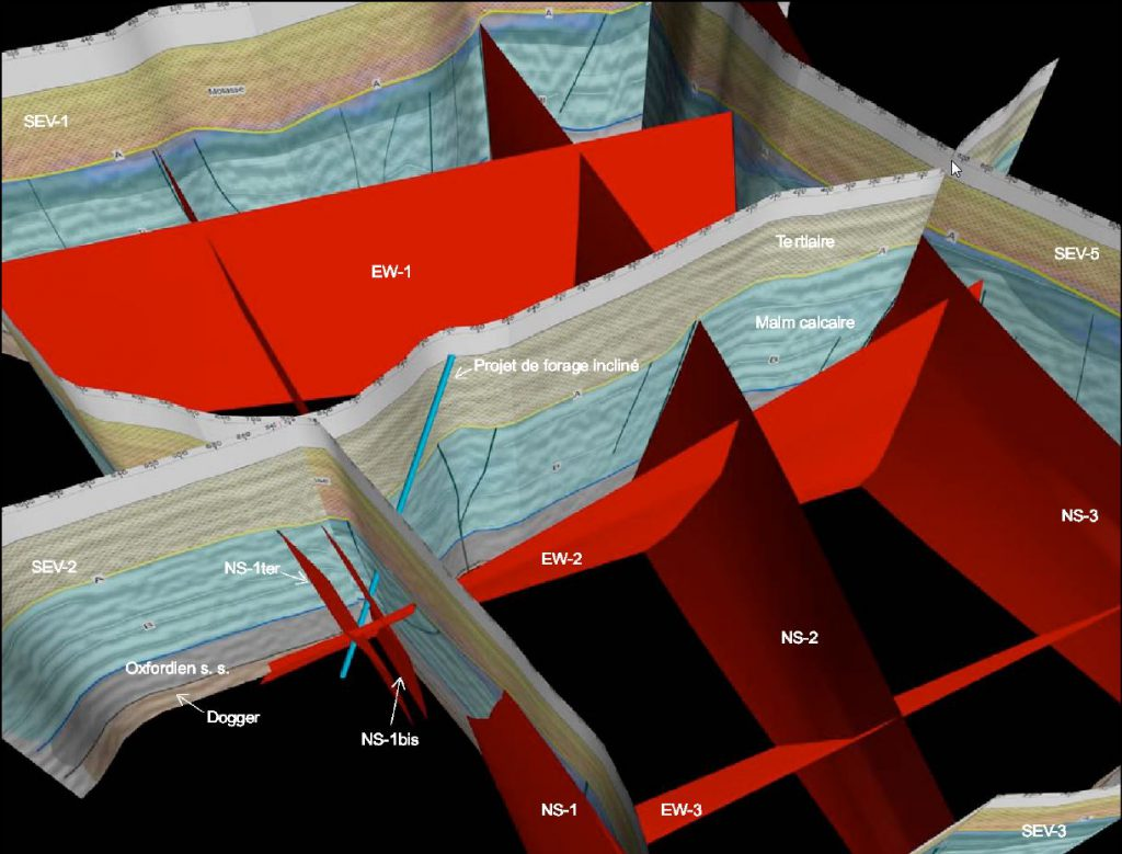3D visualisation of the seismic sections and the location of the deviated exploration well
